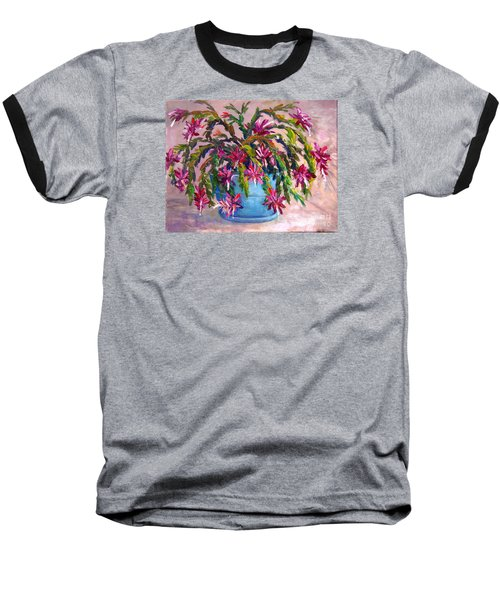 Baseball T-Shirt featuring the painting Christmas Cactus by Lou Ann Bagnall
