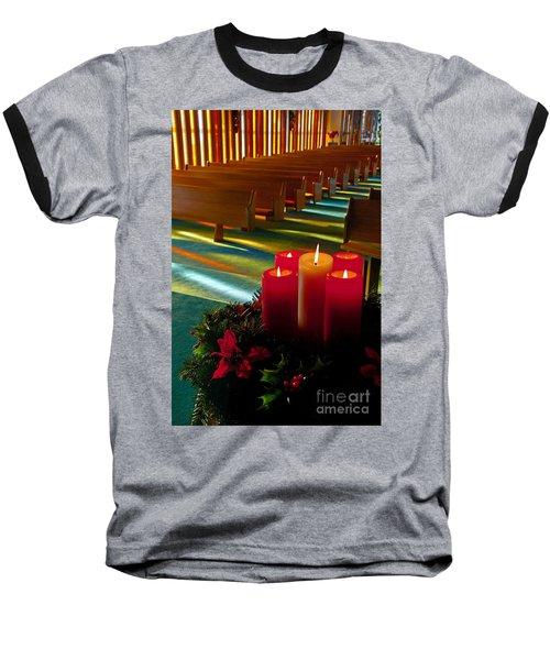 Christmas Candles At Church Art Prints Baseball T-Shirt by Valerie Garner