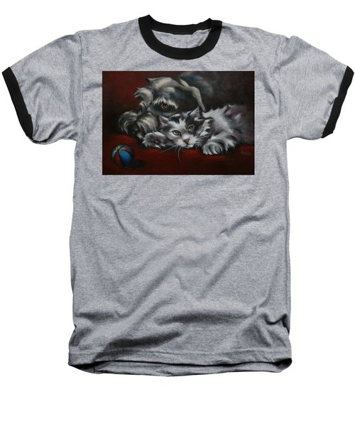 Baseball T-Shirt featuring the painting Christmas Companions by Cynthia House