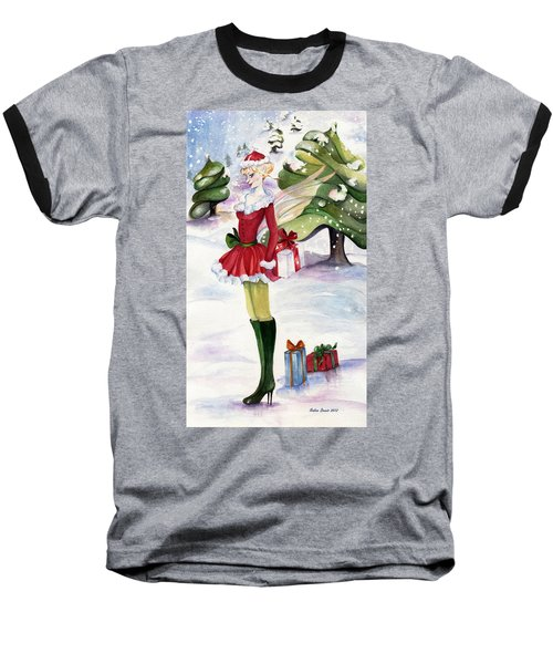 Baseball T-Shirt featuring the painting Christmas Fantasy  by Nadine Dennis