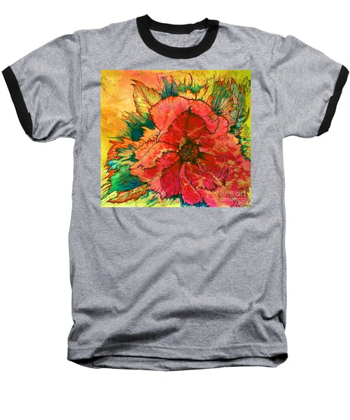 Christmas Flower Baseball T-Shirt