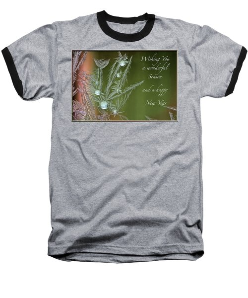 Baseball T-Shirt featuring the mixed media Christmas Greeting Card Ice Flowers by Peter v Quenter