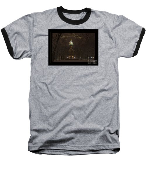 Christmas Greeting Card Notre Dame Golden Dome In Night Sky And Snow Baseball T-Shirt by John Stephens