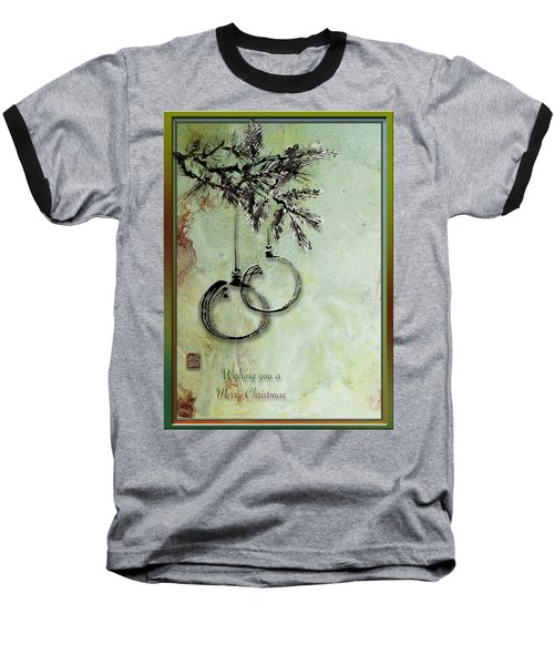 Baseball T-Shirt featuring the painting Christmas Greeting Card With Ink Brush Drawing by Peter v Quenter