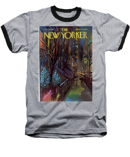 Christmas In New York Baseball T-Shirt