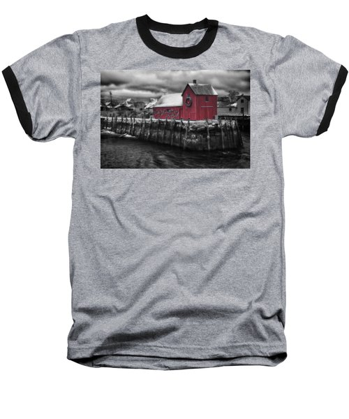 Christmas In Rockport New England Baseball T-Shirt by Jeff Folger