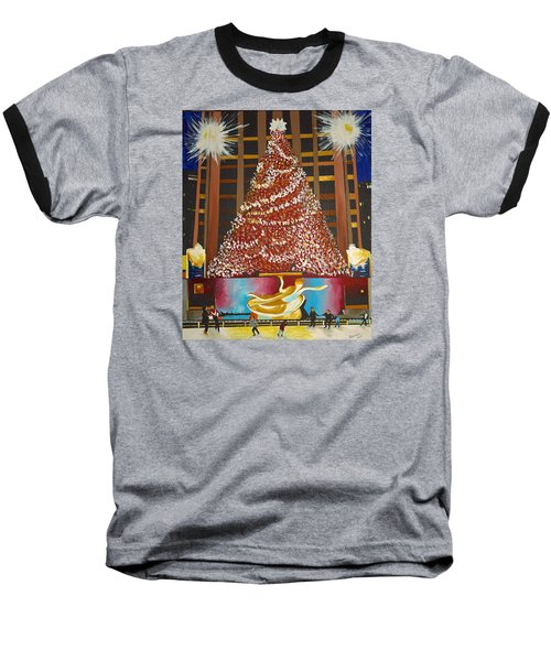 Christmas In The City Baseball T-Shirt by Donna Blossom