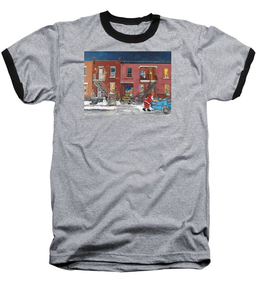 Christmas In The City Baseball T-Shirt by Reb Frost