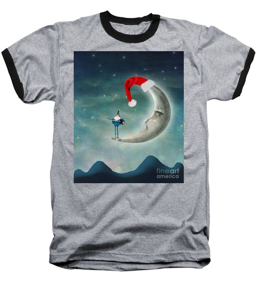Christmas Moon Baseball T-Shirt by Juli Scalzi