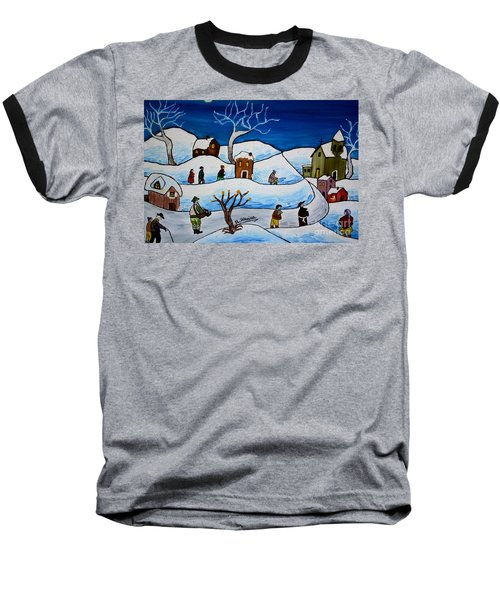 Christmas Night Baseball T-Shirt by Loredana Messina