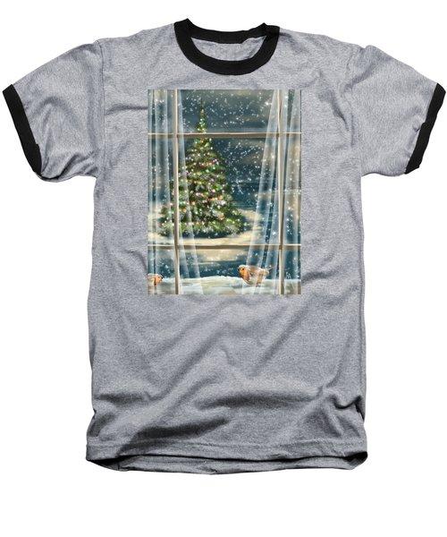 Christmas Night Baseball T-Shirt by Veronica Minozzi