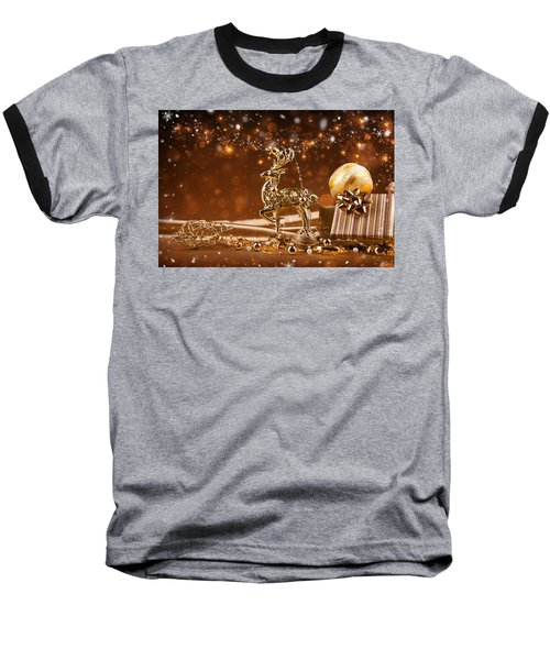 Christmas Reindeer In Gold Baseball T-Shirt by Doc Braham