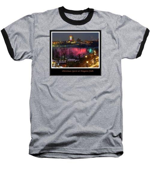 Christmas Spirit At Niagara Falls - Holiday Card Baseball T-Shirt