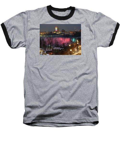 Christmas Spirit At Niagara Falls Baseball T-Shirt by Lingfai Leung