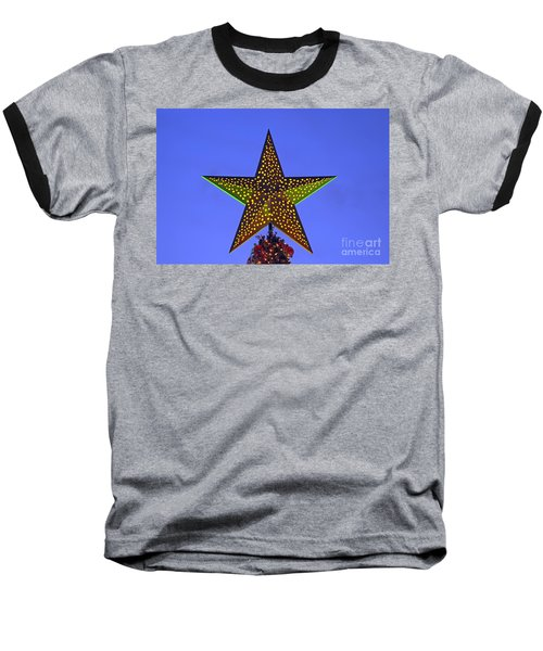 Christmas Star During Dusk Time Baseball T-Shirt by George Atsametakis