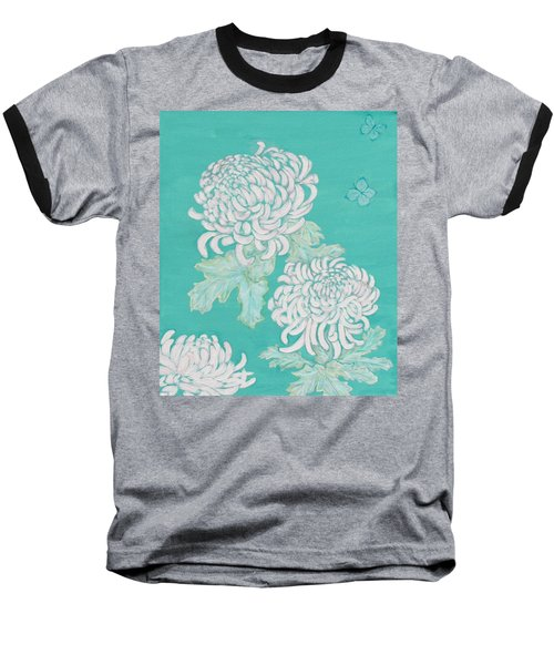 Baseball T-Shirt featuring the painting Chrysanthemums And Butterflies by Stephanie Grant