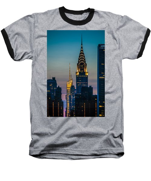 Chrysler Building At Sunset Baseball T-Shirt
