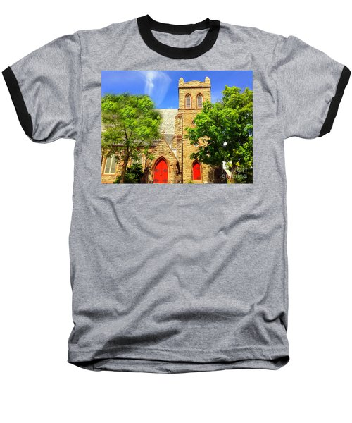 Baseball T-Shirt featuring the photograph Church And Red Doors by Becky Lupe