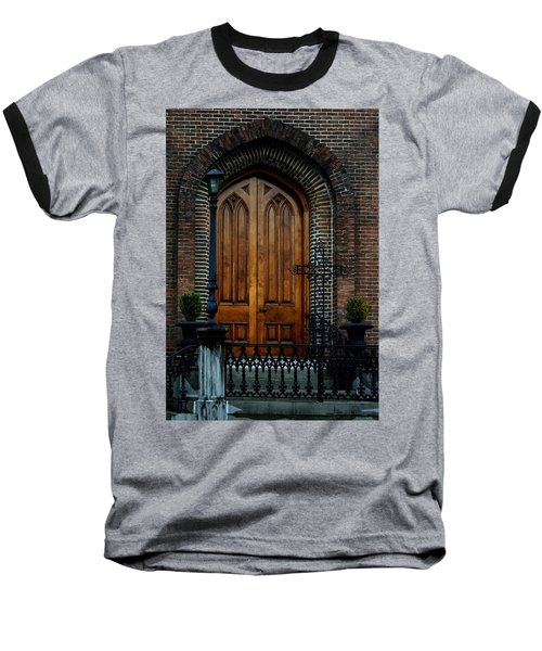 Church Arch And Wooden Door Architecture Baseball T-Shirt by Lesa Fine