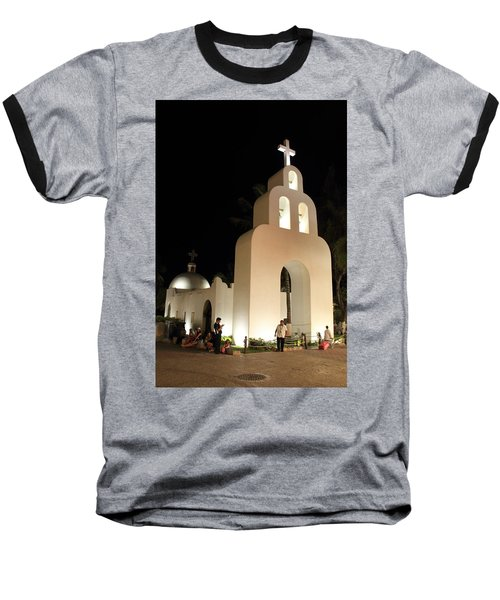 Church At Night In Playa Del Carmen Baseball T-Shirt