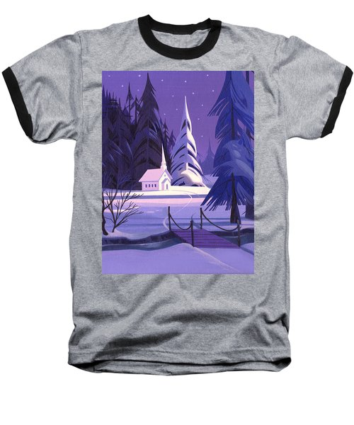 Baseball T-Shirt featuring the painting Church In Snow by Michael Humphries