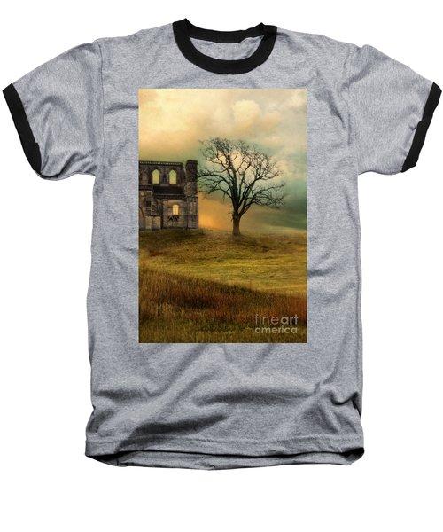 Church Ruin With Stormy Skies Baseball T-Shirt