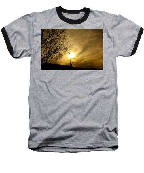 Baseball T-Shirt featuring the photograph Church Steeple Clouds Parting by Jerry Cowart