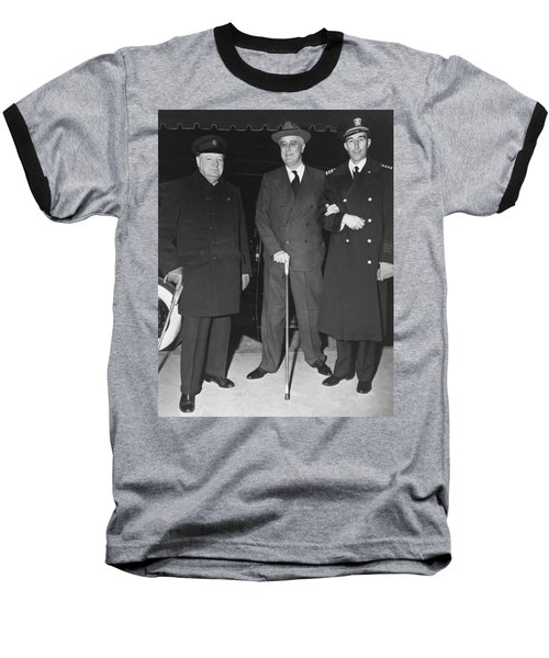 Churchill And Roosevelt Baseball T-Shirt by Underwood Archives