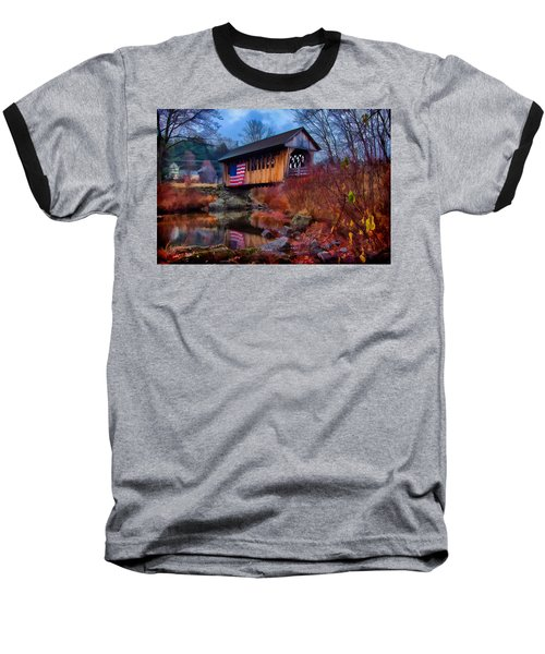 Cilleyville Covered Bridge Baseball T-Shirt by Jeff Folger