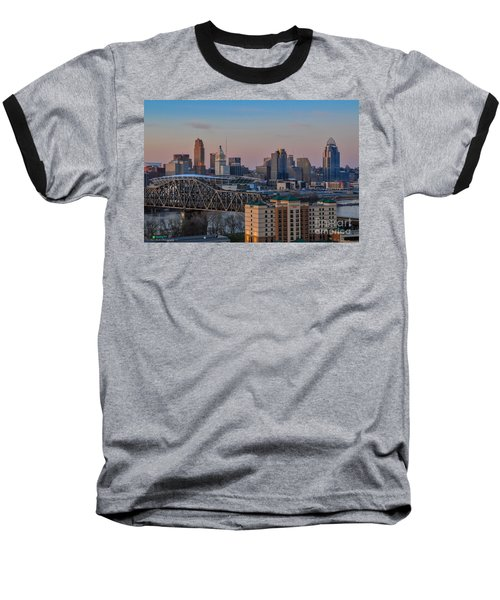 D9u-876 Cincinnati Ohio Skyline Photo Baseball T-Shirt
