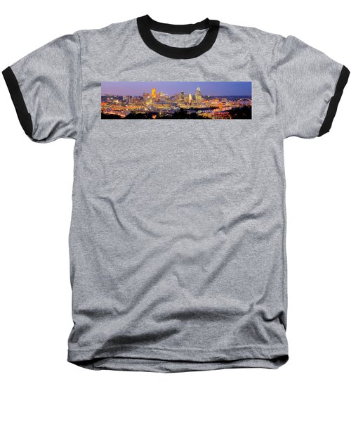 Cincinnati Skyline At Dusk Sunset Color Panorama Ohio Baseball T-Shirt