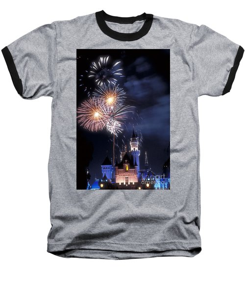 Cinderella Castle Fireworks Iconic Fairy-tale Fortress Fantasyland Baseball T-Shirt
