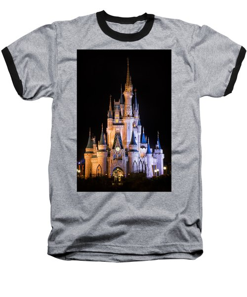 Cinderella's Castle In Magic Kingdom Baseball T-Shirt by Adam Romanowicz
