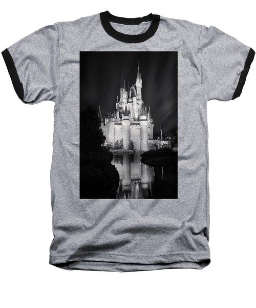 Cinderella's Castle Reflection Black And White Baseball T-Shirt