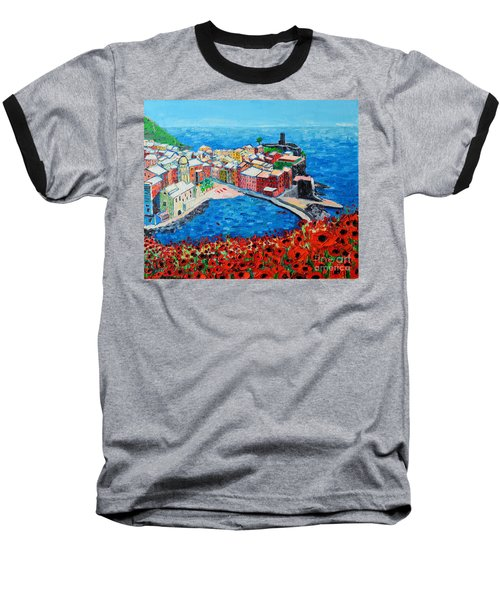 Cinque Terre Vernazza Poppies Baseball T-Shirt