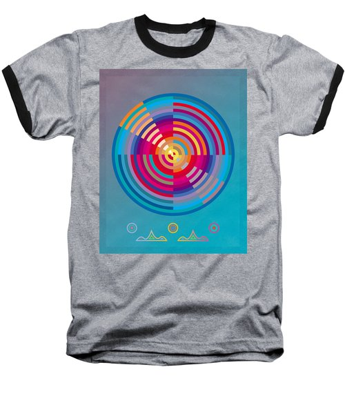 Baseball T-Shirt featuring the painting Circles by David Klaboe