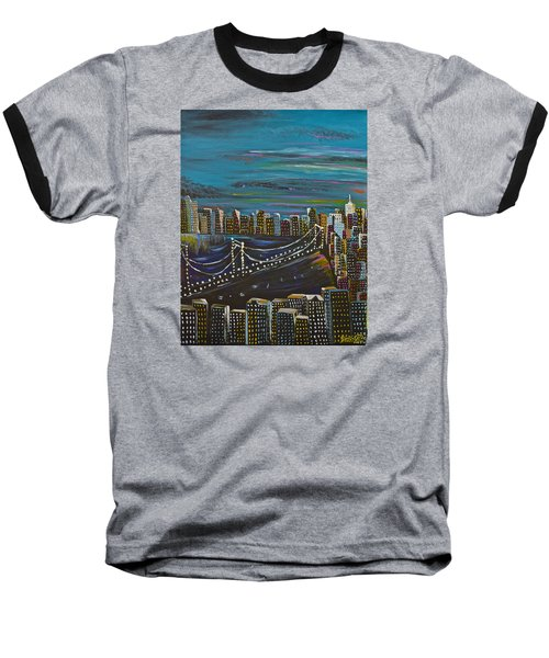 Citiscape Baseball T-Shirt by Donna Blossom