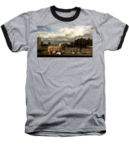 City And Sky Baseball T-Shirt by Miriam Danar