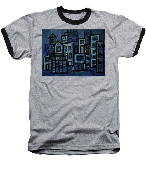 City At Night Baseball T-Shirt