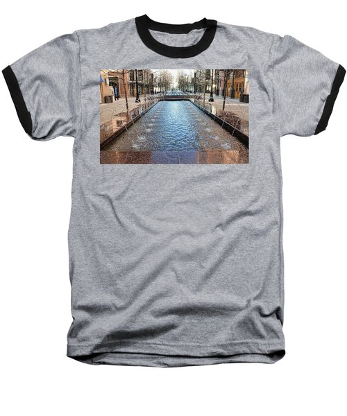 Baseball T-Shirt featuring the photograph City Creek Fountain - 1 by Ely Arsha