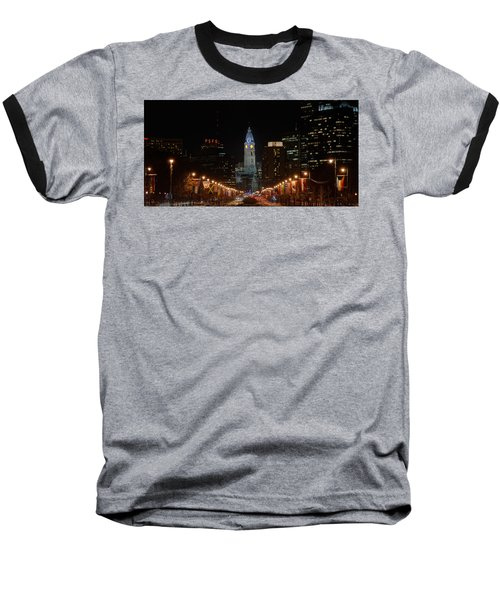 City Hall At Night Baseball T-Shirt by Jennifer Ancker