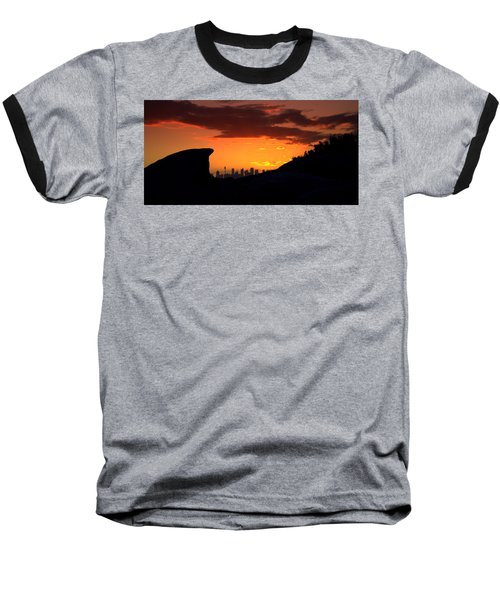 Baseball T-Shirt featuring the photograph City In A Palm Of Rock by Miroslava Jurcik