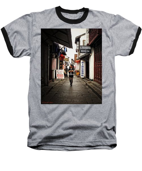 Baseball T-Shirt featuring the photograph City Life In Ancient China by Lucinda Walter