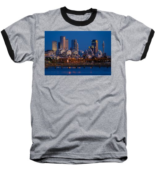 city lights and blue hour at Tel Aviv Baseball T-Shirt