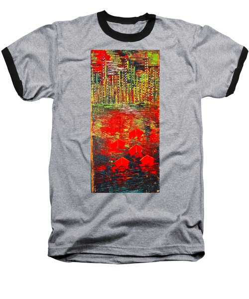City Lights - Sold Baseball T-Shirt by George Riney