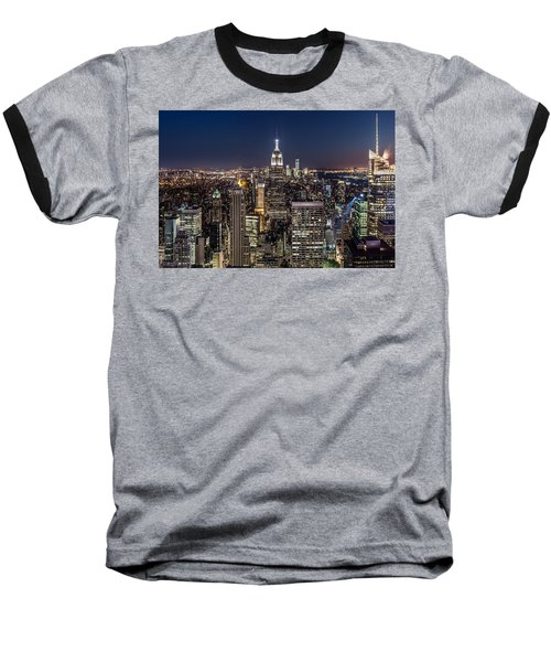Baseball T-Shirt featuring the photograph City Lights by Mihai Andritoiu