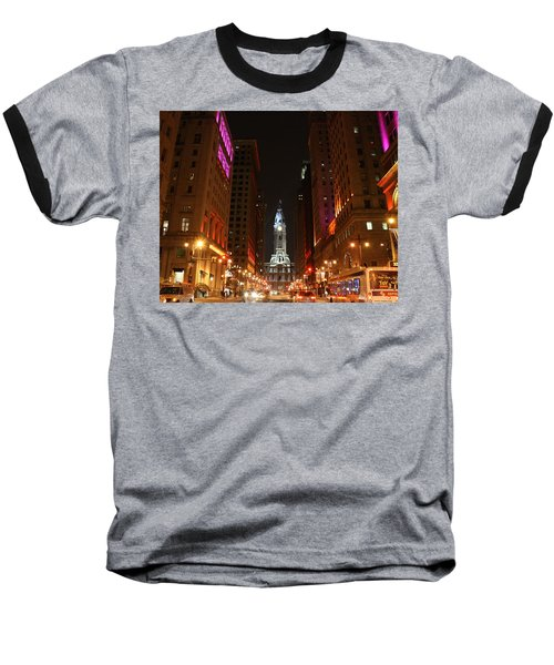Baseball T-Shirt featuring the photograph Philadelphia City Lights by Christopher Woods