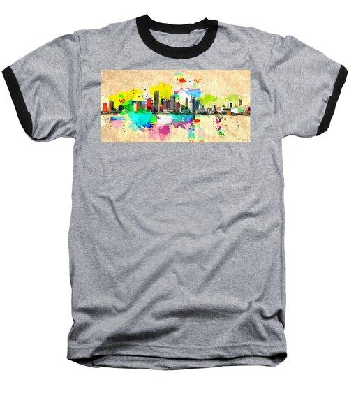 City Of Miami Grunge Baseball T-Shirt by Daniel Janda
