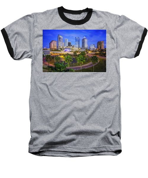 City Of Tampa At Dawn In Hdr Baseball T-Shirt