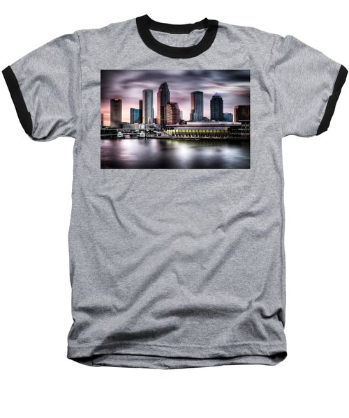 City Of Tampa Skyline At Dusk In Hdr Baseball T-Shirt